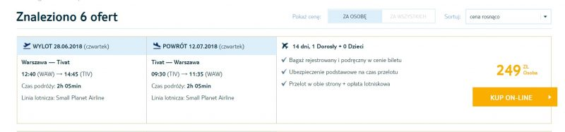 last minute flights warsaw montenegro tivat