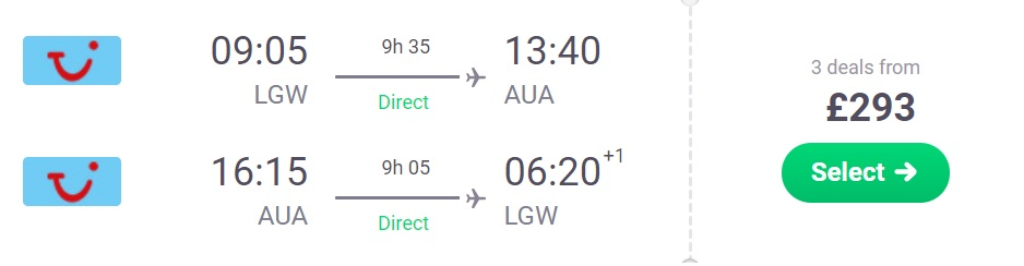 non stop flights from london to aruba