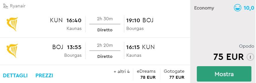 non stop flights kaunas burgas