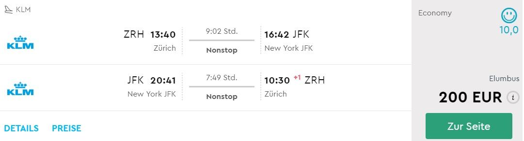 non stop flights zurich new york klm