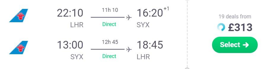 peak summer non stop flights london sanya hainan