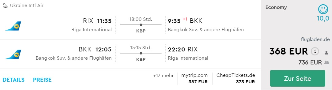 riga bangkok flight