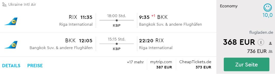 riga bangkok flight