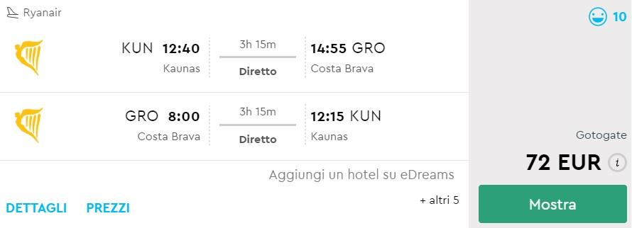 summer flights from kaunas to barcelona