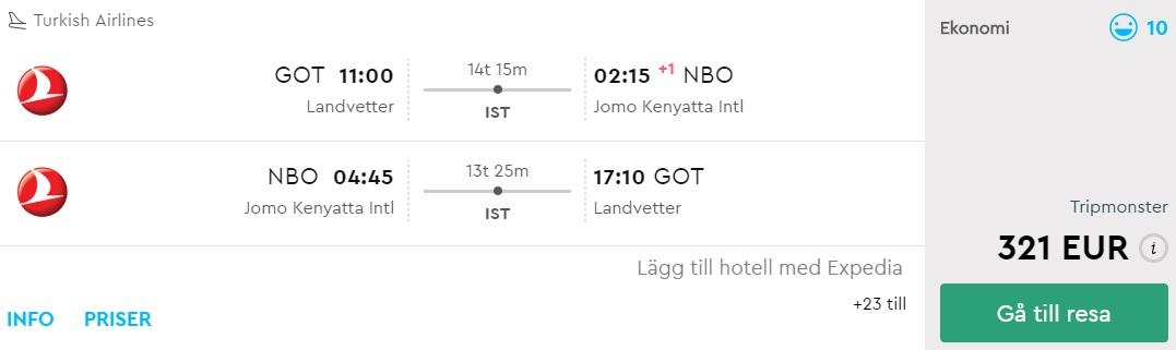 turkish airlines cheap flights sweden kenya