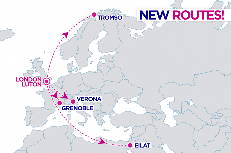 wizzair new routes from london luton
