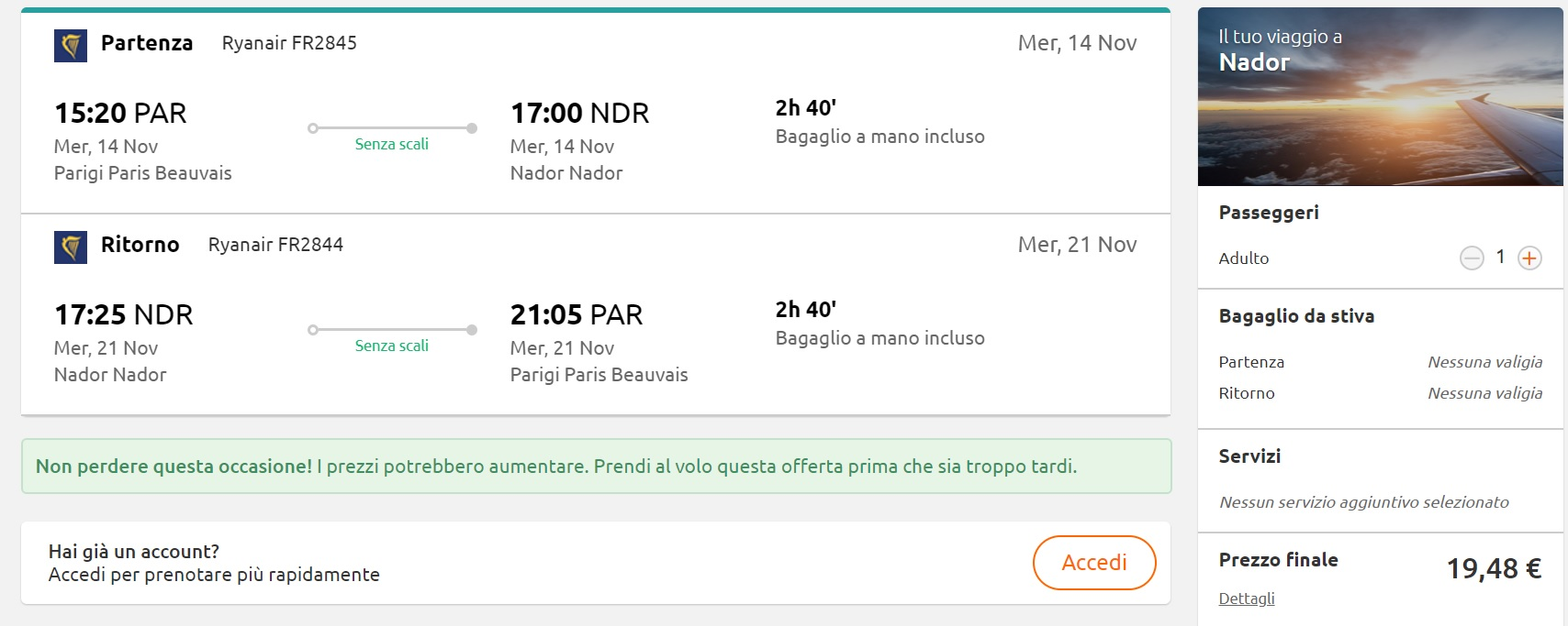 CHEAP Flights from Paris to NADOR MOROCCO