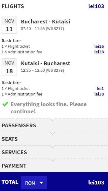Cheap flights from Bucharest to GEORGIA kutaisi