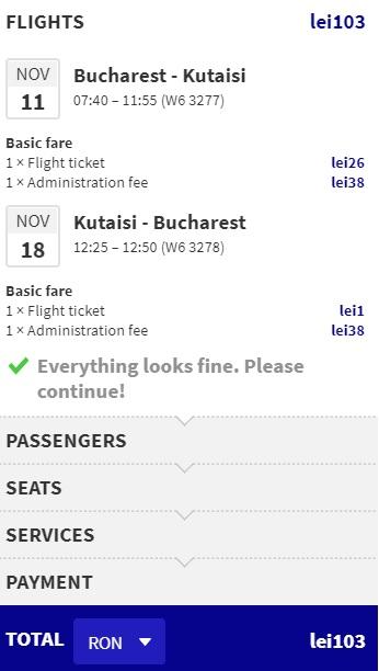 Cheap flights from Bucharest to GEORGIA kutaisi