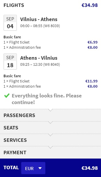 Cheap flights from Vilnius to ATHENS