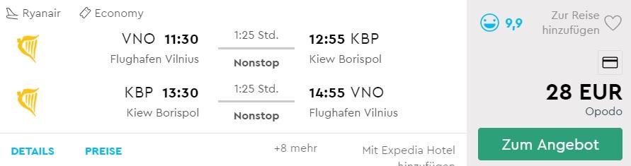 Cheap flights from Vilnius to KYIV ukraine