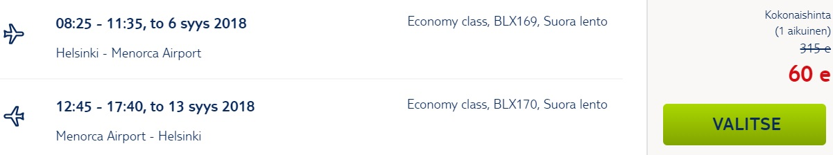 Cheap flights to MENORCA from Helsinki