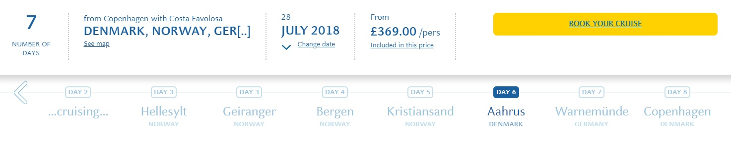 Costa Cruise to Norwegian Fjords from Denmark