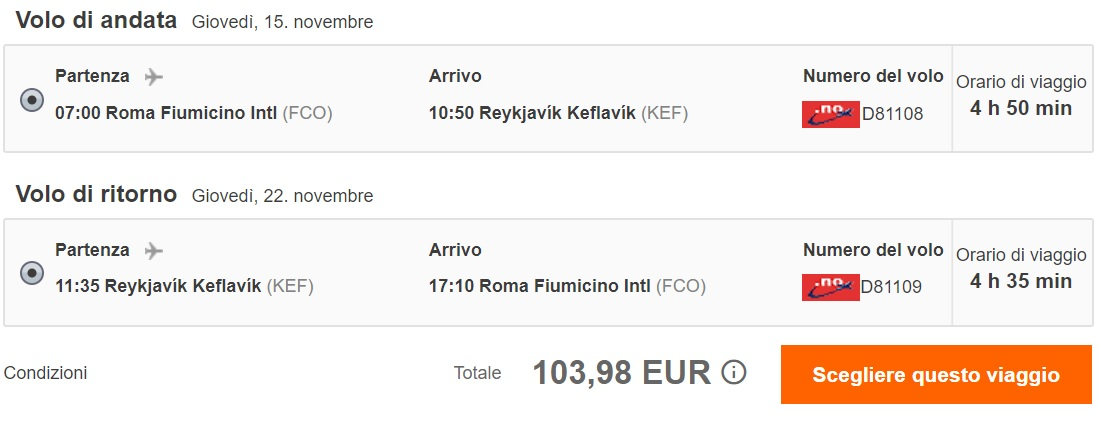 Direct flights from Rome to ICELAND