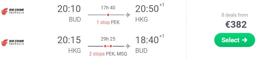 Flights from Budapest to Hong Kong