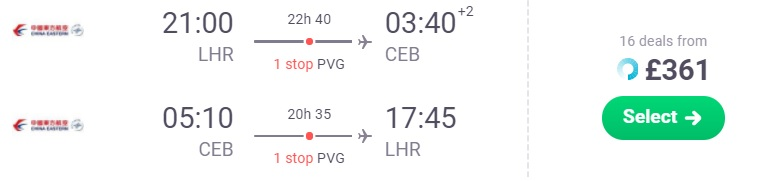 Flights from London to CEBU PHILIPPINES