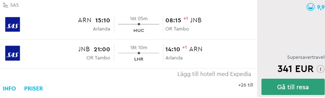 Flights from Stockholm to Johannesburg South Africa