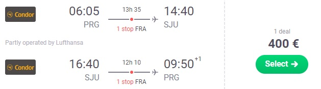 Full service flights from Prague to Puerto Rico