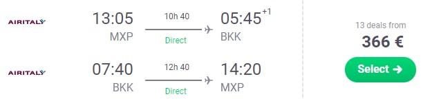 HIGH SEASON Direct flights from Milan to Bangkok