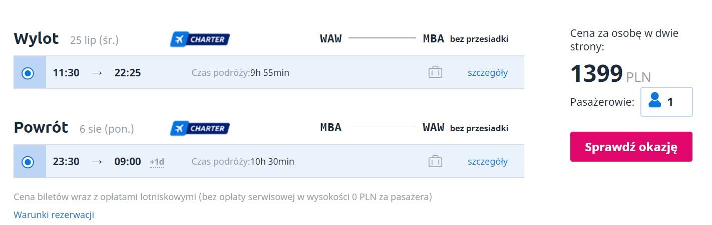 LAST MINUTE flights from Warsaw to KENYA