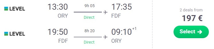 Non-Stop flights from Paris to MARTINIQUE