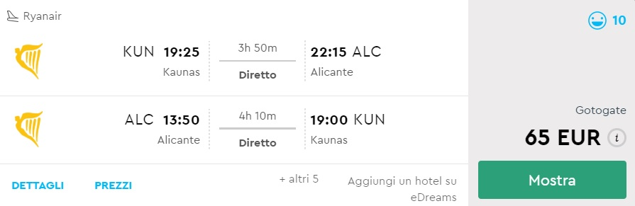 Non-Stop flights to ALICANTE from Lithuania