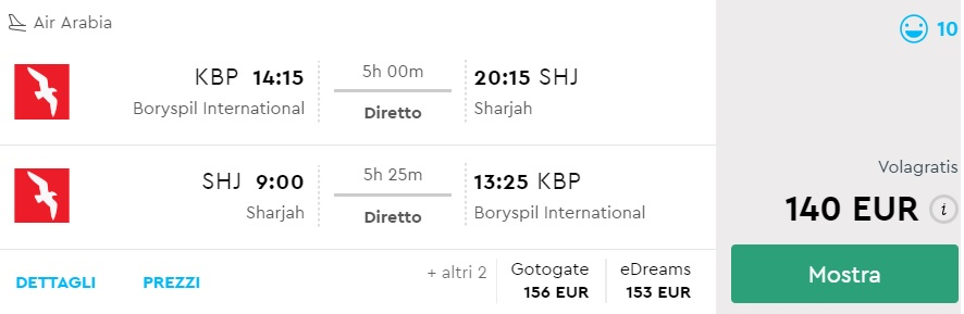 Non-stop flights from Kyiv to UAE Sharjah