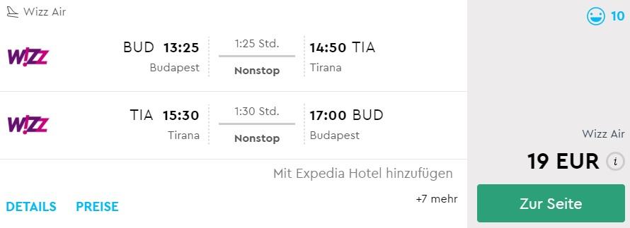 cheap flight tickets to albania from budapest hungary