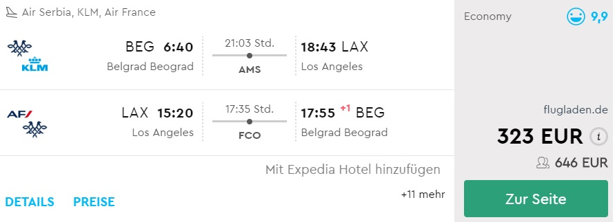 cheap flights belgrade los angeles us