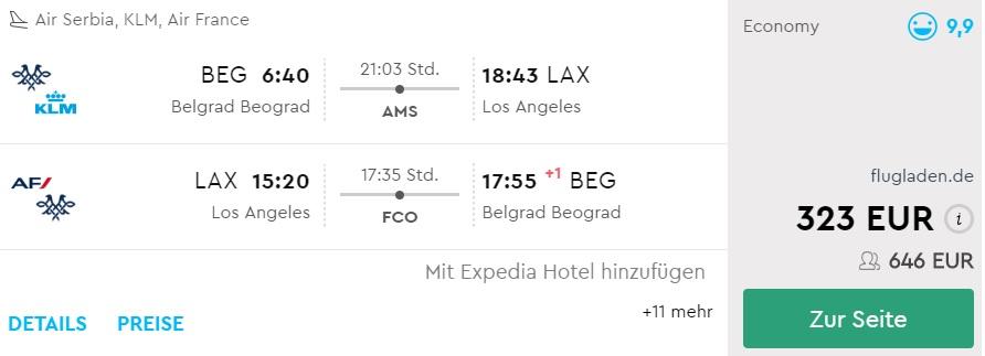 cheap flights belgrade los angeles us