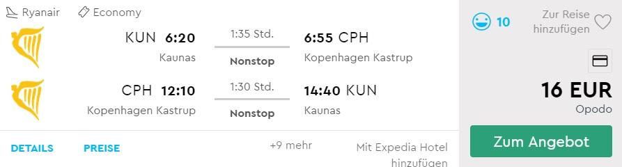 cheap flights from kaunas to copennhagen