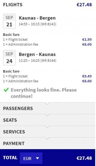 cheap flights kaunas bergen