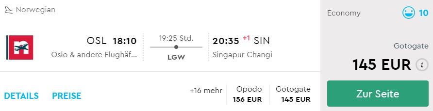 cheap flights oslo singapore