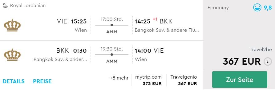 cheap flights vienna bangkok thailand royal jordanian