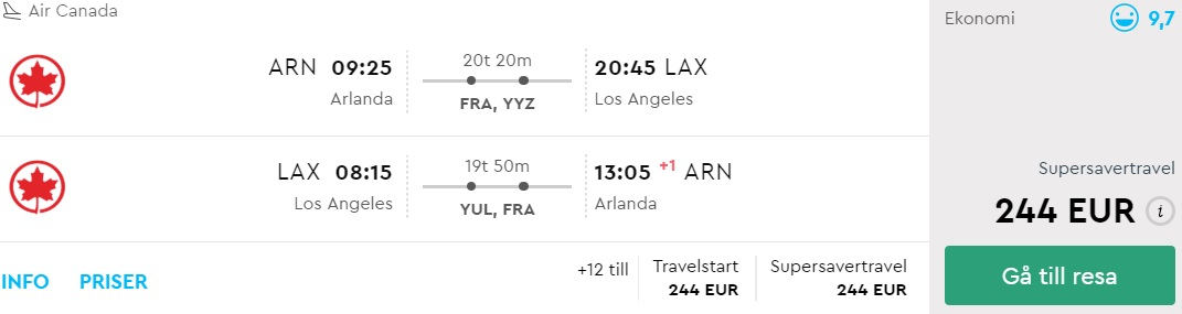 cheap tickets from stockholm to los angeles