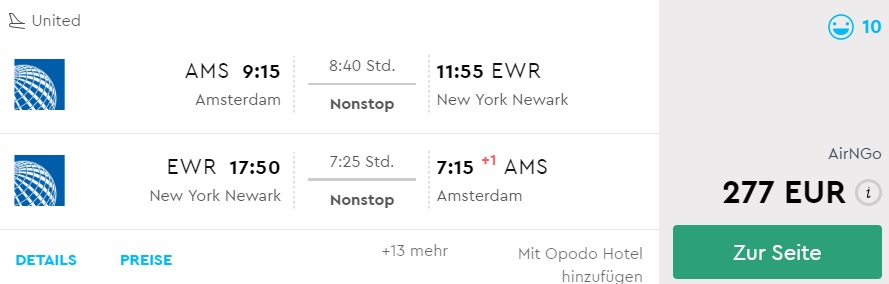 direct flights from amsterdam to new york