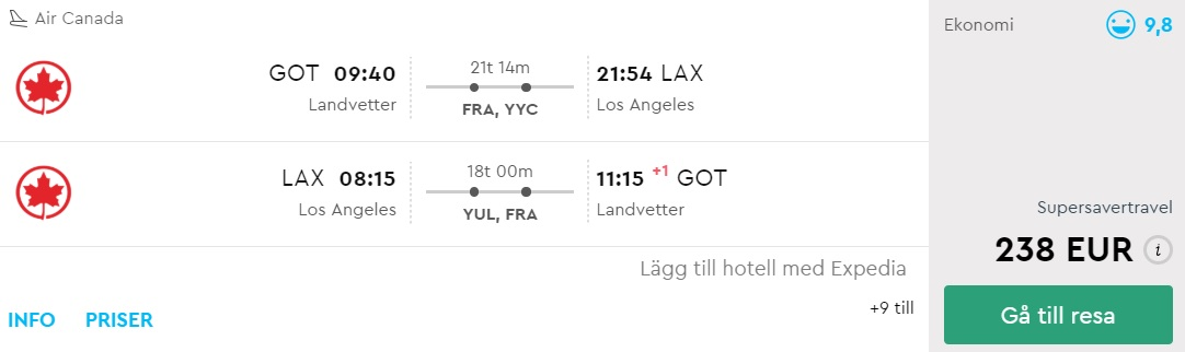 flight tickets from sweden to los angeles