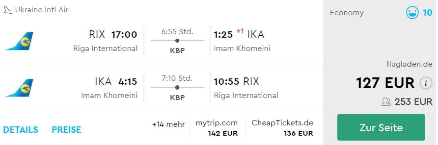 flight tickets to iran from riga