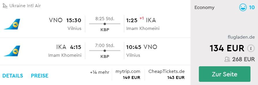 flight tickets to iran from vilnius