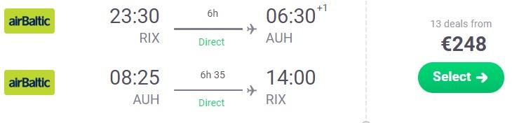 flights from riga to abu dhabi