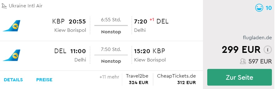 non stop flights from kyiv to new delhi india