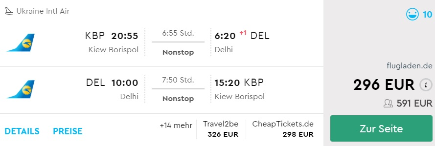 non stop flights kyiv delhi india