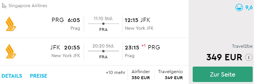 singapore airlines flights to new york from prague