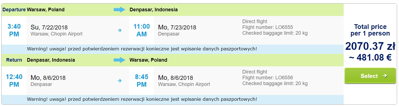 summer non stop flights warsaw bali indonesia