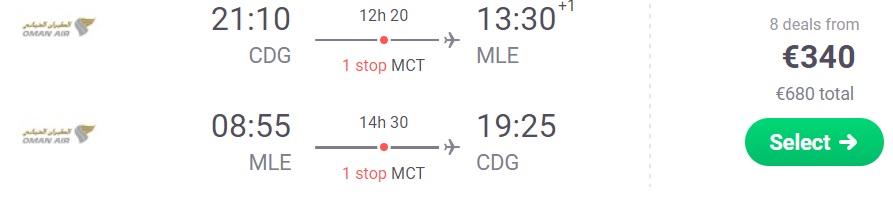 CHEAP Flights from Paris to MALDIVES