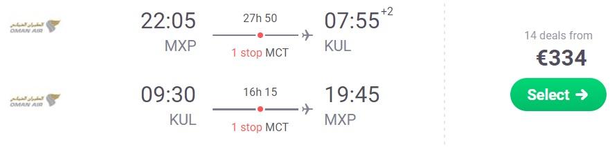 Cheap flights from Milan to KUALA LUMPUR, MALAYSIA