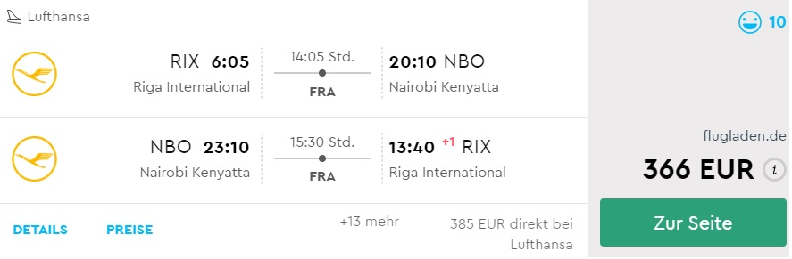 Cheap flights to KENYA from riga