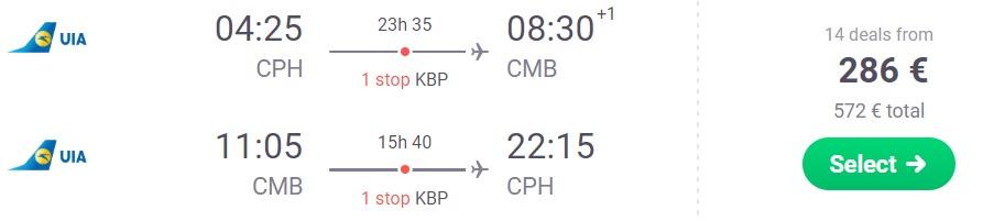 Cheap flights to SRI LANKA from Copenhagen Denmark