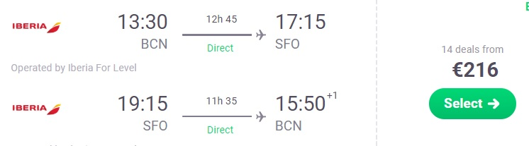 Direct flights from Barcelona to SAN FRANCISCO