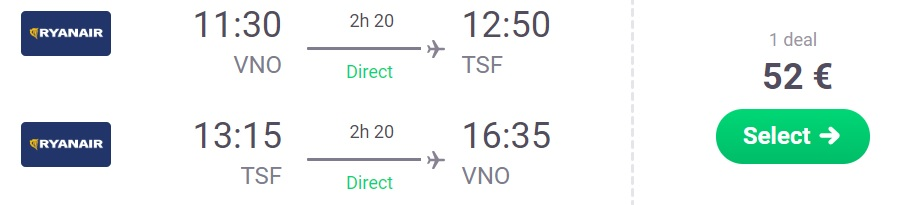 Direct flights to VENICE from Lithuania